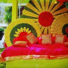 Magic with marigold   DIY decor ideas for the wedding house   Marigold studding wall backdrop  Curated By Witty Vows