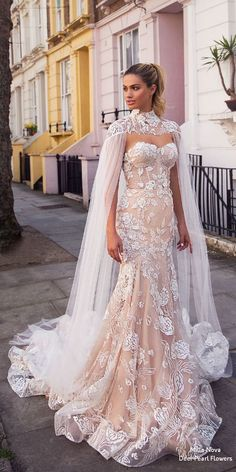 The Best Milla Nova Wedding Dresses 2019 ★ milla nova wedding dresses 2019 mer. The Best Milla Nova Wedding Dresses 2019 ★ milla nova wedding dresses 2019 mermaid sweetheart lace blush with cape ★ See more: weddingdressesgui. Custom Wedding Dress, Wedding Dress Trends, Dream Wedding Dresses, Designer Wedding Dresses, Wedding Gowns, Lace Wedding, Wedding Dress Cape, Bridal Lace, Trendy Wedding