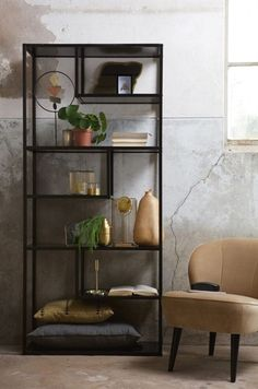 5 Ways to Make Your Home Look Bigger - Love Chic Living Interior Design Living Room Warm, Living Room Modern, Home And Living, Contemporary Cabinets, Contemporary Interior, Black Metal Shelf, Metal Shelving Units, Living Room Inspiration, Home Accessories