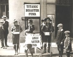 """English Boy Scouts raising money for victims of the """"Titanic"""" disaster, 1912"""