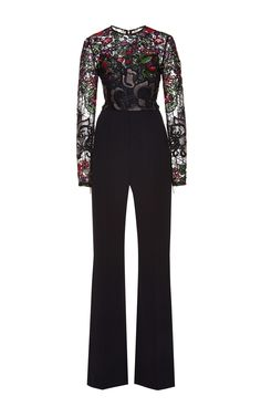 Crepe Cady And Embroidered Floral Guipure Jumpsuit by Elie Saab for Preorder on Moda Operandi