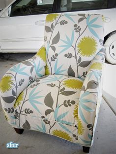 This fabric is SO similar to what I re-covered my living room throw pillows with!  LOVE LOVE LOVE!!  And the chair looks incredibly comfortable too!