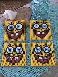 Perler Bead Coasters - Spongebob