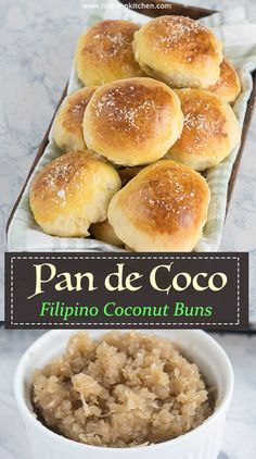 Filipino Pan de Coco are soft and buttery buns filled with sweetened coconut filling. Video recipe instructions and useful tips included! Pastry Recipes, Bread Recipes, Dessert Recipes, Cooking Recipes, Pandecoco Recipe, Filipino Bread Recipe, Comida Filipina, Coconut Buns, Filipino Desserts
