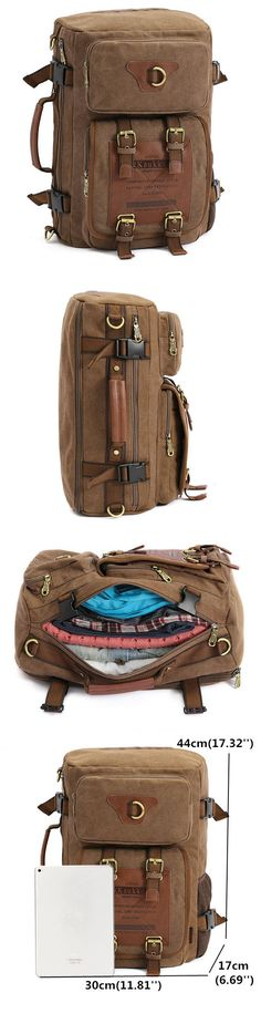 US$52.59 Men Canvas Multifunction Backpack Laptop Backpack Travel Crossbody Bag