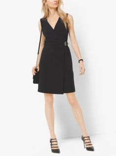 This LBD is designed with a flattering belted, wrap-effect waist. Detailed with a surplice neckline and above-the-knee length, this fashion classic pairs perfectly with statement stilettos.