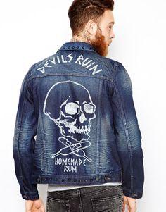 Buy ASOS Denim Jacket With Stud and Skull Print Detail at ASOS. Get the latest trends with ASOS now. Denim Jacket Men, Denim Shirt, Leather Jacket, Designer Jackets For Men, Estilo Denim, Printed Denim, Custom Clothes, Lingerie, Skull Print