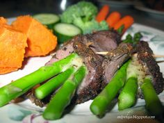Reclaim your Health through                     Healing Cuisine: Asparagus tucked in an Elk blanket