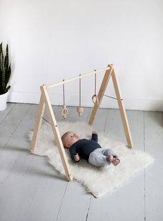 DIY wood baby gym More