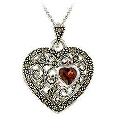 Glitzy Rocks Sterling Silver Marcasite\/ Garnet Heart Locket Necklace