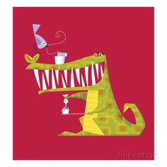 Crocodile brushing his teeth Giclee Print by Harry Briggs at AllPosters.com