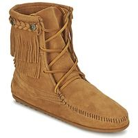 Chaussures Femme Boots Minnetonka DOUBLE FRINGE TRAMPER Taupe