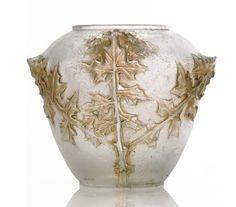 """René Lalique (1860-1945), """"Branches De Laiteron"""", Cire-Perdue Glass Vase."""