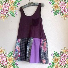 A cute little tunic with deep plum cotton knit top with cute crochet pocket and patchwork skirt in plums, mauves and blues. Easy to wear, unique and one of a kind!  Measurements: Bust 36 inches flat, will stretch comfortably to 44 inches Waist 46 inches (at join) Length 32 inches.  Please