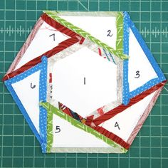 Hexagon Mug Mat — Crafty Staci Table Topper Patterns, Mug Rug Patterns, Scrap Quilt Patterns, Paper Piecing Patterns, Scrap Fabric Projects, Small Sewing Projects, Quilting Projects, Sewing Crafts, Small Quilts