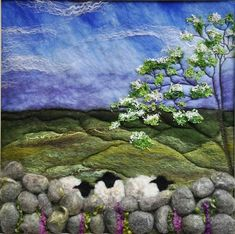 Homespun From Devon. Homespun From Devon. Wool Needle Felting, Needle Felting Tutorials, Wet Felting, Felt Pictures, Fabric Pictures, Felt Wall Hanging, Sheep Art, Felt Embroidery, Wool Art