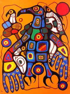 "Norval Morriseau Man Changing into Thunderbird; Norval Morrisseau, CM, also known as Copper Thunderbird, was an Aboriginal (Ojibway) Canadian artist. Known as the ""Picasso of the North"", Morrisseau created works depicting the legends of his people Inuit Kunst, Inuit Art, Native Canadian, Canadian Artists, American Indian Art, Native American Art, Art Indien, Kunst Der Aborigines, Woodland Art"