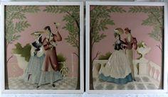 Bernard Pair of Vintage 1940's  Prints Victorian Couple Original Frames Parasol #Vintage