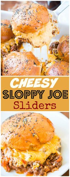 Cheesy Sloppy Joe Sliders [+ Video] - Oh Sweet Basil Well I've officially put on my fat pants and made the ultimate comfort food, cheesy sloppy joe sliders. That's right saucy sloppy joes in a whole new way. Slider Sandwiches, Appetizer Sandwiches, Appetizer Recipes, Dinner Recipes, Dinner Ideas, Quick Appetizers, Beef Recipes, Cooking Recipes, Beef Meals