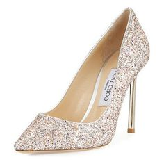 c25083be2bf0 Romy Glitter Pointed-Toe 100mm Pump by Jimmy Choo. Jimmy Choo speckled  glitter suede pump. 4