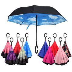 防風逆折りたたみ二重層倒立chuva傘セルフスタンド裏返し雨保護c-フック手用カー
