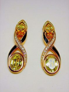 Vintage Christian Dior Earrings Faceted Crystal GoldTone Yellow-Green Clip #Dior #DropDangle