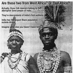Gond People of India, descendants of the earliest settlers on the Indian sub-continent. India has the largest black population outside of Africa! Black History Books, Black History Facts, Black Indians, By Any Means Necessary, India People, African Diaspora, African American History, Black Pride, Ancient History