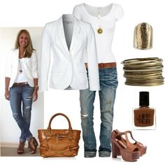 Simple yet sexy and classy. White top, white blazer, distressed jeans, brown wedges, mules or chunky heals, gold jewelry