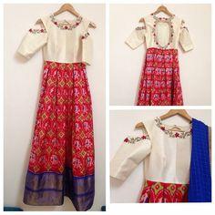 For pure POCHAMPALLY ikat silk sarees, ikkat lehengas, duppatas and ikkat fabrics, cotton sarees, cotton duppatas please call or WhatsApp us on Indian Attire, Indian Ethnic Wear, Kurta Designs, Blouse Designs, Indian Dresses, Indian Outfits, Ikkat Dresses, Anarkali Dress, Anarkali Suits