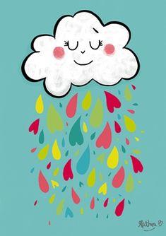 Affichette Pluie de cœurs - Mathou - fée pas ci, fée pas ça