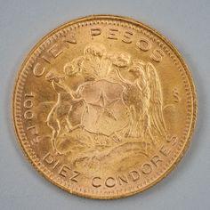 100 Pesos, kultaa, v 1954 Chile. Condor, Chile, Personalized Items, Gold, Design, Chili, Yellow