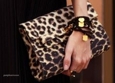 An animal print clutch is just enough trend in a classic style to be so now, so forever
