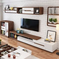 Modern Extendable TV Stand Entertainment Cabinet with Storage White&Walnut / White&Black TV Stand with Bookshelf & Drawer - Modern Extendable TV Stand Entertainment Cabinet with Storage White&Walnut TV Stand with Bookshelf - Tv Unit Interior Design, Tv Wall Design, Tv Unit Furniture Design, Tv Furniture, Tv Shelf Design, Modern Furniture Design, Antique Furniture, Hall Interior, Furniture Layout
