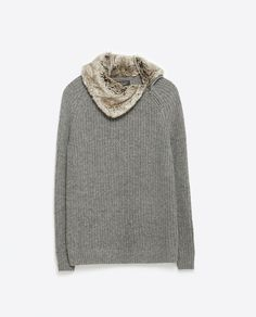 Image 8 of SWEATER WITH FAUX FUR COLLAR from Zara