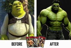 Shrek to Hulk lol Memes Humor, Gym Memes, Shrek Memes, Weight Loss Inspiration, Fitness Inspiration, Motivation Inspiration, Crossfit Inspiration, Color Inspiration, Health And Fitness
