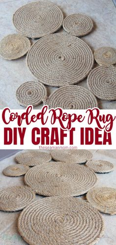 Make your own rug and give your entry way a bit of a nautical touch! Adding fun to your front door area is so easy peasy with this DIY coiled rope rug! #easypeasycreativeideas #sewing #sewingtutorials #sewingprojects #sewingforhome #sewingforbeginners #beginnersewing Easy Sewing Projects, Sewing Tutorials, Rope Rug, Do It Yourself Projects, Sewing For Beginners, Sewing Patterns Free, Easy Peasy, Diy Crafts, Rugs