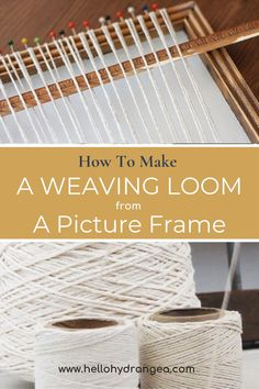 Most recent Images weaving projects loom Suggestions This quick and easy tutorial shows you how to make a DIY weaving loom from a picture frame. Weaving Loom Diy, Rug Loom, Weaving Art, Tapestry Weaving, Hand Weaving, Loom Weaving Projects, Tapestry Crochet, Mason Jar Crafts, Mason Jar Diy