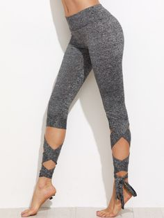 Shop Grey Marled Knit Cropped Tie Leggings online. SheIn offers Grey Marled Knit Cropped Tie Leggings & more to fit your fashionable needs.