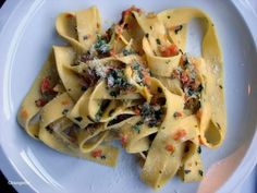 Pasta, no pomodoro Papparedelle with zucchini blossom sauce