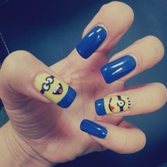 50 Adorable Despicable Me Minion Nail Designs - Adorable Despicable - 14 Funky Nail Art, Funky Nails, Cute Nails, Pretty Nails, Toe Nail Designs, Nail Polish Designs, Beautiful Nail Designs, Beautiful Nail Art, Minion Nail Art