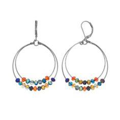 Croft & Barrow Bead Double Hoop Drop Earrings