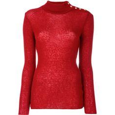 Balmain button-embellished turtleneck jumper ($685) ❤ liked on Polyvore featuring tops, sweaters, red, red sweater, roll-neck sweaters, red turtleneck, ribbed sweater and turtle neck sweater