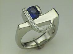 Sapphire and Diamonds Heart Ring, Sapphire, Diamonds, Indian, Jewellery, Earrings, Design, Fashion, Ear Rings