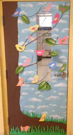 My dear 4th grade teacher friend's door, just down the hall, and around the corner! 'A class worth tweeting about'.