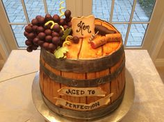 """""""Aged to Perfection""""! Love the details! Wine barrel, grapes, corkscrew, corks and banners! Birthday Cake Models, 60th Birthday Cakes, Birthday Ideas, Wine Theme Cakes, Themed Cakes, Wine Cakes, 40th Cake, Dad Cake, Frost Bakery"""