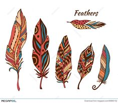 Illustration about Hand drawn stylized feathers vector collection. Set of doodle tribal feathers. Cute zentangle feather for your design. Illustration of handmade, dream, beauty - 53958625 Henna Feather, Feather Vector, Tribal Feather, Feather Art, Feather Tattoos, Feather Drawing, Feather Painting, Feather Tattoo Meaning, Tattoos With Meaning