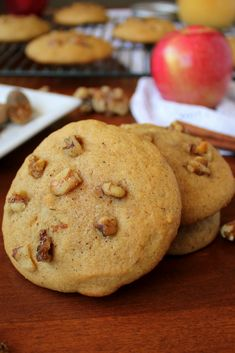 These Walnut Applesauce Cookies are perfectly spiced, moist, cake-like cookies filled with chunks of walnuts and a hint of fall spices. Home Made Cookies Recipe, Fall Cookie Recipes, Ww Desserts, Delicious Desserts, Dessert Recipes, Sweet Desserts, Apple Recipes, Baking Recipes, Sweet Recipes