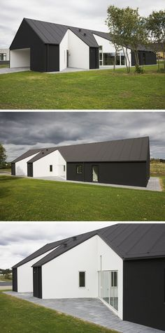 19 Examples Of Modern Scandinavian House Designs | This black house has white cut outs on its exterior to create a unique exterior design and make for a more dynamic interior layout.