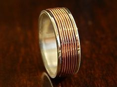 SteamPunk Silver & Coiled Copper Wedding Band // Unique Artisan Design // Custom Crafted in Quarter Sizes for a Custom Fit