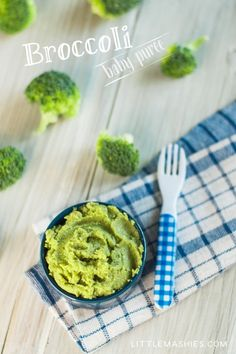 Baby food recipe Broccoli puree from Little Mashies reusable food pouches. For free recipe ebook go to Little Mashies website or Amazon